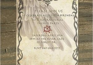 Angel themed Birthday Party Invitations Supernatural themed Custom Printable Invitation Castiel Angel