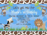 Animal 1st Birthday Invitations Birthday Invitations Jungle 1st Party Invites Birthday