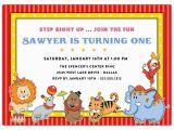 Animal 1st Birthday Invitations Circus Animals First Birthday Invitations Paperstyle