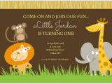 Animal 1st Birthday Invitations Safari Animals First Birthday Invite First Birthday