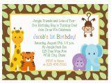 Animal Birthday Invites Jungle Animals 1st Birthday Invitation Baby Shower