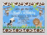 Animal Birthday Invites Jungle Animals Birthday Invitation Safari Animals Birthday