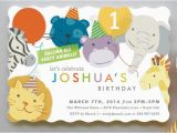 Animal Birthday Invites Modern Cute Baby Boy 1st Birthday Invitations Party Ideas