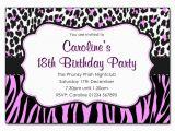 Animal Print Birthday Party Invitations Animal Print Pink and Black Party Invitations