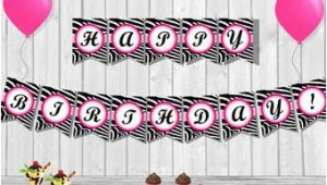 Animal Print Happy Birthday Banner Hot Pink and Zebra Print Birthday Banner Etsy