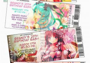 Anime Birthday Invitations Personalized Japanese Theme Ticket Style