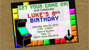Arcade Birthday Invitations Arcade Birthday Party Invitation Invite Video Game Digital