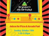 Arcade Birthday Party Invitations Arcade Game Personalized Kids Party Invitation Printable
