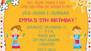 Arts and Crafts Birthday Party Invitations Arts and Crafts Birthday Party Invitations Free