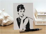 Audrey Hepburn Birthday Card Personalised Audrey Hepburn Greeting Card Fashion