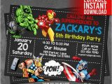 Avengers Birthday Invitation Templates Free Avengers Invitation Instant Download Avengers Invitations