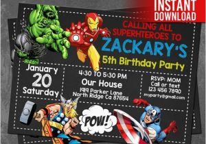 Avengers Birthday Invitation Templates Free Instant Download Invitations