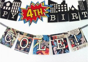 Avengers Happy Birthday Banner Free Printable Vintage Comic Spiderman or Batman Banner Printable by