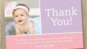 Baby 1st Birthday Thank You Cards Items Similar to Thank You Photo Card Baby Girl First