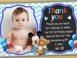 Baby 1st Birthday Thank You Cards Mickey Mouse 1st Birthday Thank You Card Mickey Mouse Baby