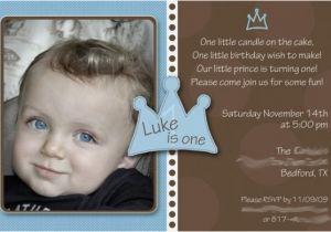 Baby Boy First Birthday Invitation Wording 1st Little Prince