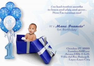 Baby Boy First Birthday Invitation Wording Invitations Free