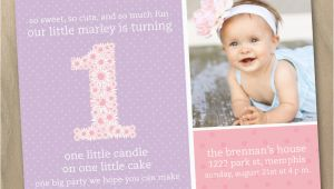 Baby Girl First Birthday Invitation Wording Baby Girl First 1st Birthday Photo Invitation Pink and