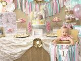 Baby Girl First Birthday Party Decoration Ideas A Pink Gold Carousel 1st Birthday Party Party Ideas