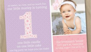 Baby Girls First Birthday Invitations Baby Girl First 1st Birthday Photo Invitation Pink and