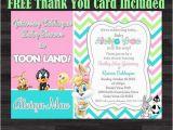 Baby Looney Tunes Birthday Invitations Baby Tunes Invitation Baby Shower Invitation by soniardesigns