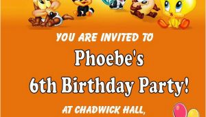 Baby Looney Tunes Birthday Invitations Personalised Baby Looney Tunes Birthday Card