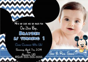 Baby Mickey First Birthday Invitations Mouse 1st Invitation