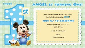 Baby Mickey First Birthday Invitations Mickey Mouse 1st Birthday Invitations for Girls and Boys