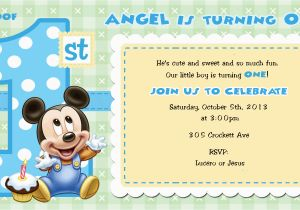 Baby Mickey First Birthday Invitations Mouse 1st For Girls And Boys