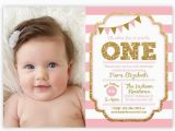 Babys First Birthday Invitations Pink and Gold 1st Birthday Invitation Ellison Reed