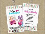 Backstage Pass Birthday Invitations Abby Cadabby Vip Pass Invitations Backstage Pass Invite
