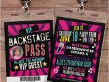 Backstage Pass Birthday Invitations Birthday Invitation Rock Star Vip Pass Backstage Pass
