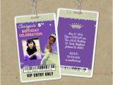 Backstage Pass Birthday Invitations Frog Princess Tiana Vip Pass Invitations Backstage Pass