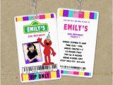 Backstage Pass Birthday Invitations Girly Elmo Vip Pass Backstage Invitations Elmo Invites
