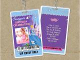 Backstage Pass Birthday Invitations Princess Cinderella Vip Pass Invitation with Lanyard