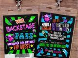 Backstage Pass Birthday Invitations Retro Neon Vip Pass Backstage Pass Vip Invitation