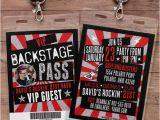 Backstage Pass Birthday Invitations Vip Pass Backstage Pass Concert Ticket Birthday