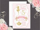 Ballerina Birthday Invites Ballerina Birthday Invitation In Pink and Gold Ballet