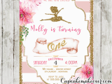 Ballerina Birthday Invites Ballerina Invitations Pink Stripes Floral Gold Ballet