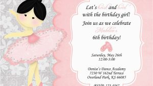 Ballerina Invitations for Birthday Ballerina Birthday Party Invitation Wording