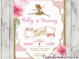 Ballerina Invitations for Birthday Ballerina Invitations Pink Stripes Floral Gold Ballet