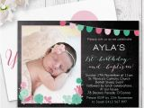 Baptism and Birthday Party Invitations Chalkboard Ballons and Bunting Girl Photo Party Invitation