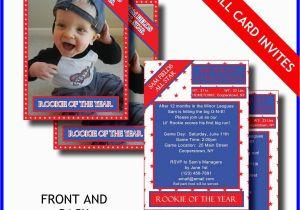 Baseball 1st Birthday Invitations 1st Birthday Invitation Card Lil Rookie Baseball Card