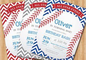 Baseball 1st Birthday Invitations Baseball Birthday Invitation First Birthday Baby Boy Chevron