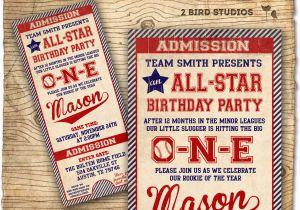 Baseball 1st Birthday Invitations Baseball Birthday Invitation First Birthday by 2birdstudios