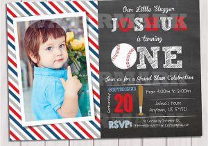 Baseball 1st Birthday Invitations Baseball Invitation 1st Birthday Birthday Party Invitation