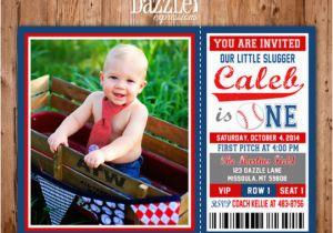 Baseball 1st Birthday Invitations Printable Baseball Ticket Birthday Photo Invitation Boys
