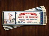Baseball themed First Birthday Invitations Baseball theme 1st Birthday Invitation Ticket