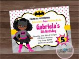 Batgirl Birthday Party Invitations Bat Girl Party Invitation African American Batgirl