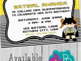 Batgirl Birthday Party Invitations Batgirl Birthday Invitation Printable 4×6 or 5×7